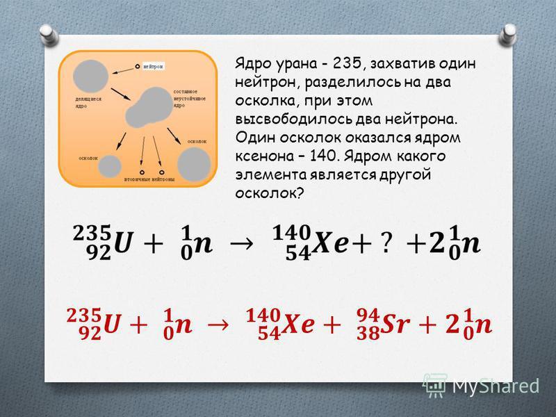 Ядро урана - 235, захватив один нейтрон, разделилось на два осколка, при этом высвободилось два нейтрона. Один осколок оказался ядром ксенона – 140. Ядром какого элемента является другой осколок?