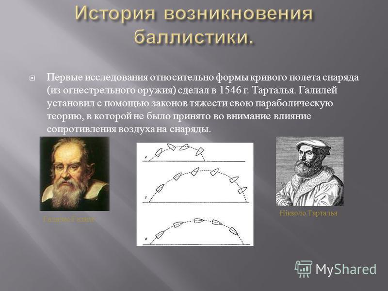 Первые исследования относительно формы кривого полета снаряда ( из огнестрельного оружия ) сделал в 1546 г. Тарталья. Галилей установил с помощью законов тяжести свою параболическую теорию, в которой не было принято во внимание влияние сопротивления