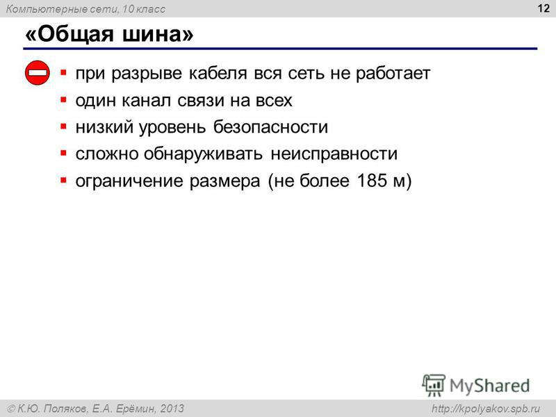 Компьютерные сети, 10 класс К.Ю. Поляков, Е.А. Ерёмин, 2013 http://kpolyakov.spb.ru «Общая шина» 12 при разрыве кабеля вся сеть не работает один канал связи на всех низкий уровень безопасности сложно обнаруживать неисправности ограничение размера (не