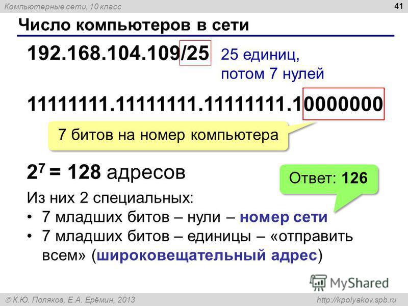 Компьютерные сети, 10 класс К.Ю. Поляков, Е.А. Ерёмин, 2013 http://kpolyakov.spb.ru Число компьютеров в сети 41 192.168.104.109/25 25 единиц, потом 7 нулей 11111111.11111111.11111111.10000000 7 битов на номер компьютера 2 7 = 128 адресов Из них 2 спе