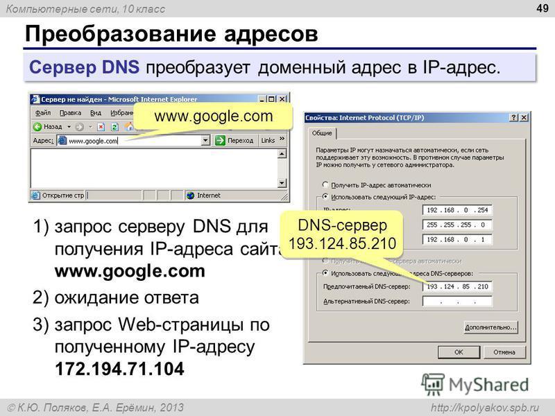 Компьютерные сети, 10 класс К.Ю. Поляков, Е.А. Ерёмин, 2013 http://kpolyakov.spb.ru Преобразование адресов 49 Сервер DNS преобразует доменный адрес в IP-адрес. www.google.com 1)запрос серверу DNS для получения IP-адреса сайта www.google.com 2)ожидани