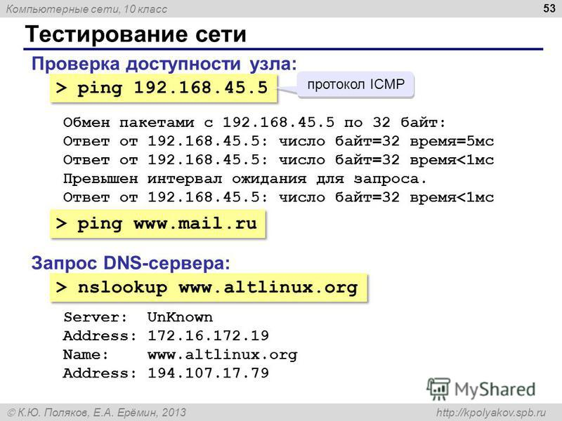 Компьютерные сети, 10 класс К.Ю. Поляков, Е.А. Ерёмин, 2013 http://kpolyakov.spb.ru Тестирование сети 53 Проверка доступности узла: > ping 192.168.45.5 Обмен пакетами с 192.168.45.5 по 32 байт: Ответ от 192.168.45.5: число байт=32 время=5 мс Ответ от