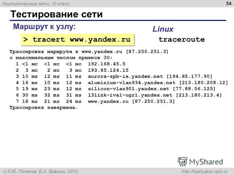 Компьютерные сети, 10 класс К.Ю. Поляков, Е.А. Ерёмин, 2013 http://kpolyakov.spb.ru Тестирование сети 54 Маршрут к узлу: > tracert www.yandex.ru traceroute Linux Трассировка маршрута к www.yandex.ru [87.250.251.3] с максимальным числом прыжков 30: 1