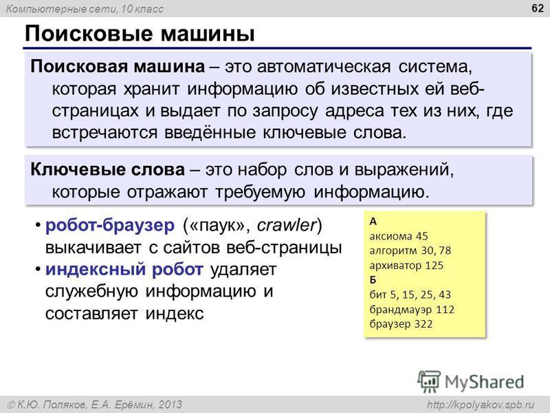Компьютерные сети, 10 класс К.Ю. Поляков, Е.А. Ерёмин, 2013 http://kpolyakov.spb.ru Поисковые машины 62 Поисковая машина – это автоматическая система, которая хранит информацию об известных ей веб- страницах и выдает по запросу адреса тех из них, где