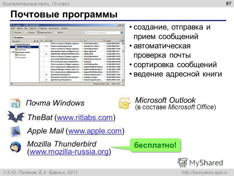 Компьютерные сети, 10 класс К.Ю. Поляков, Е.А. Ерёмин, 2013 http://kpolyakov.spb.ru Почтовые программы 67 Почта Windows Microsoft Outlook (в составе Microsoft Office) TheBat (www.ritlabs.com)www.ritlabs.com Apple Mail (www.apple.com)www.apple.com соз