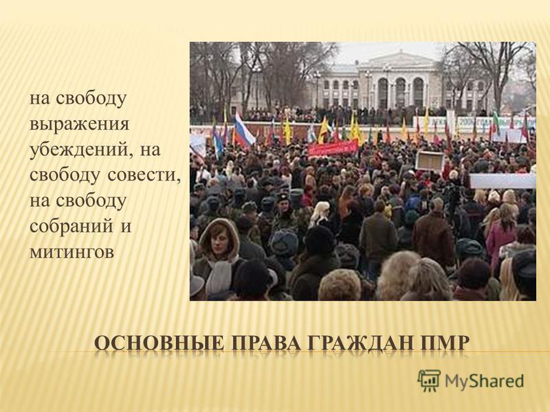 на свободу выражения убеждений, на свободу совести, на свободу собраний и митингов