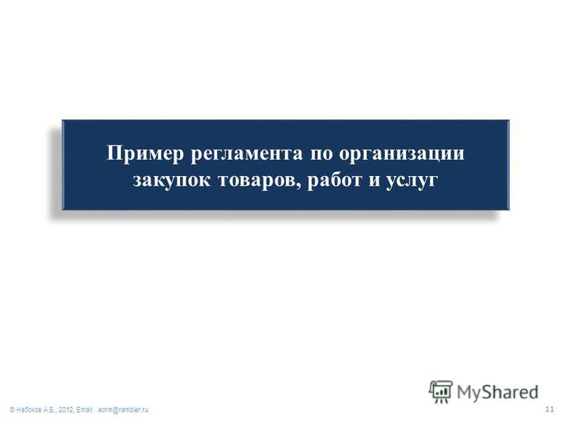 Пример регламента по организации закупок товаров, работ и услуг © Набоков А.Б., 2012, Email: ecrm@rambler.ru 11