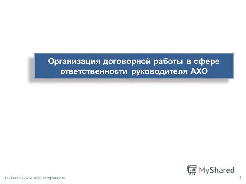 Организация договорной работы в сфере ответственности руководителя АХО © Набоков А.Б., 2012, Email: ecrm@rambler.ru 3
