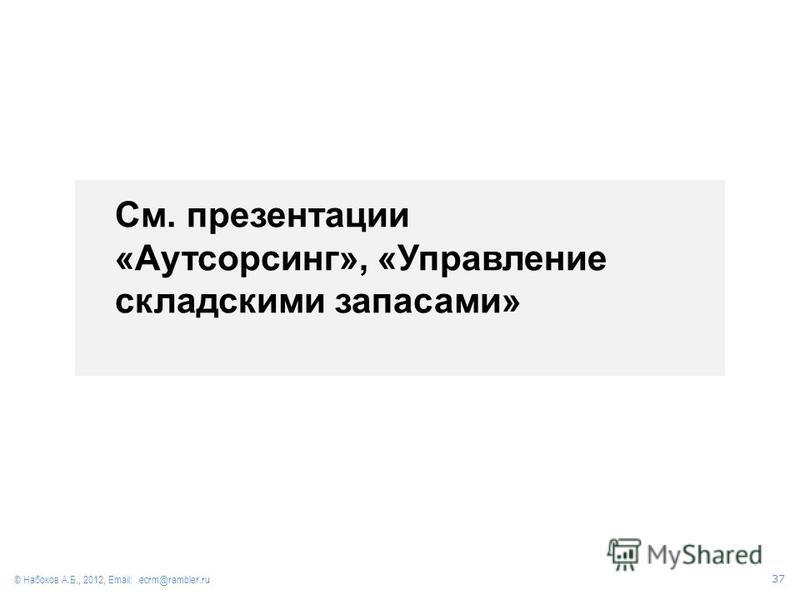 См. презентации «Аутсорсинг», «Управление складскими запасами» © Набоков А.Б., 2012, Email: ecrm@rambler.ru 37