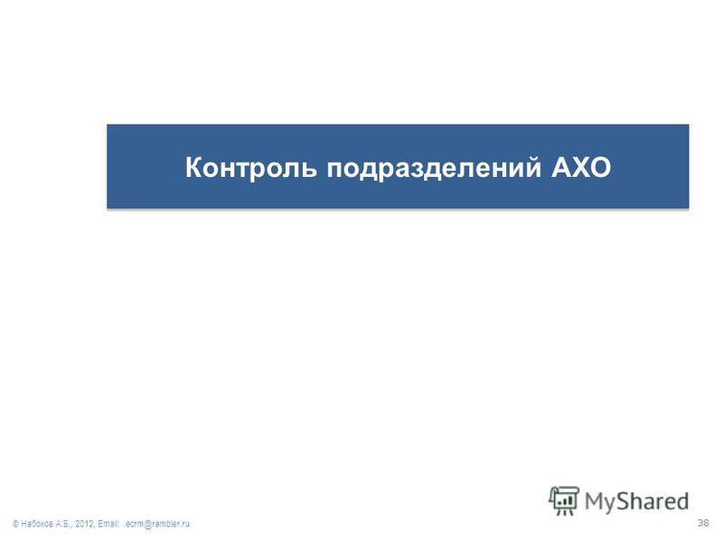 Контроль подразделений АХО © Набоков А.Б., 2012, Email: ecrm@rambler.ru 38
