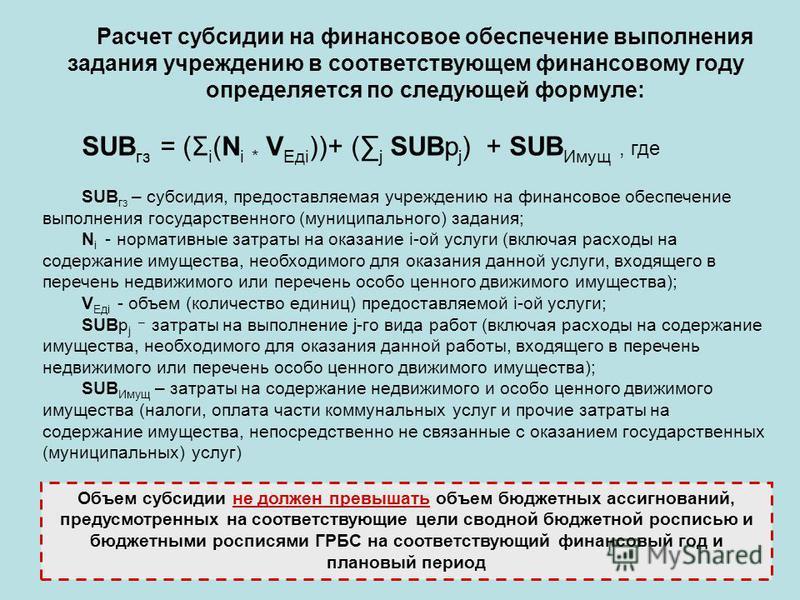 Расчет субсидии на финансовое обеспечение выполнения задания учреждению в соответствующем финансовому году определяется по следующей формуле: SUB гз = (Σ i (N i * V Едi ))+ ( j SUBр j ) + SUB Имущ, где SUB гз – субсидия, предоставляемая учреждению на