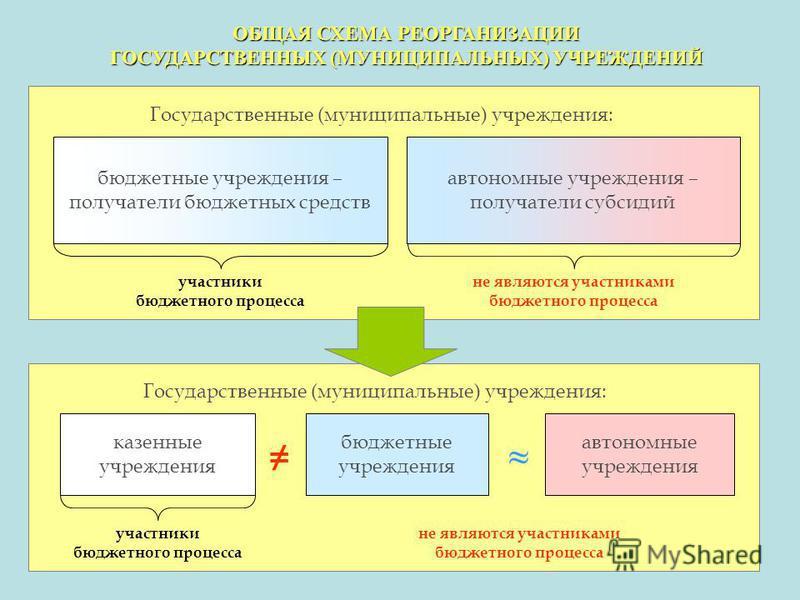 ОБЩАЯ СХЕМА РЕОРГАНИЗАЦИИ ГОСУДАРСТВЕННЫХ (МУНИЦИПАЛЬНЫХ) УЧРЕЖДЕНИЙ бюджетные учреждения – получатели бюджетных средств автономные учреждения – получатели субсидий автономные учреждения бюджетные учреждения казенные учреждения Государственные (муниц