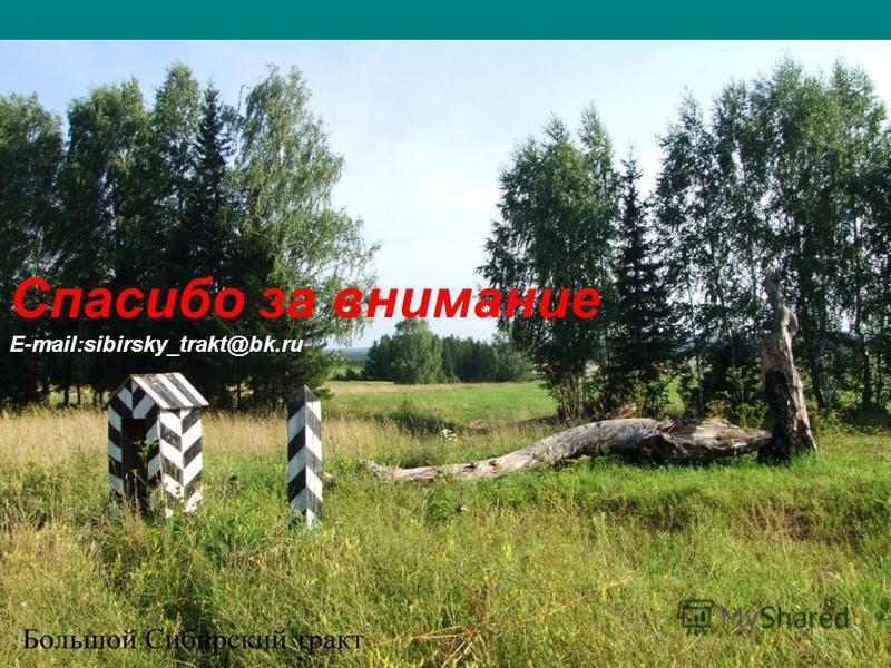 Спасибо за внимание E-mail:sibirsky_trakt@bk.ru