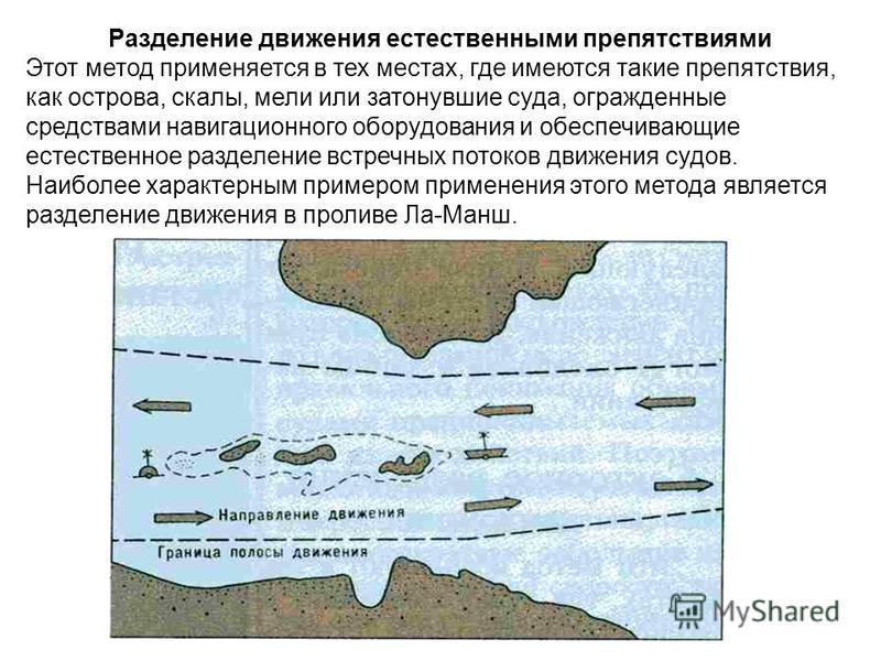 Разделение движения естественными препятствиями Этот метод применяется в тех местах, где имеются такие препятствия, как острова, скалы, мели или затонувшие суда, огражденные средствами навигацииионного оборудования и обеспечивающие естественное разде
