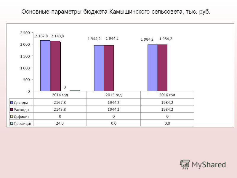 Основные параметры бюджета Камышинского сельсовета, тыс. руб.