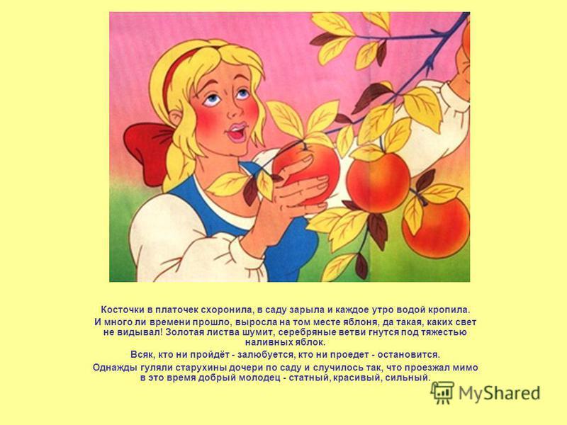 Косточки в платочек схоронила, в саду зарыла и каждое утро водой кропила. И много ли времени прошло, выросла на том месте яблоня, да такая, каких свет не видывал! Золотая листва шумит, серебряные ветви гнутся под тяжестью наливных яблок. Всяк, кто ни