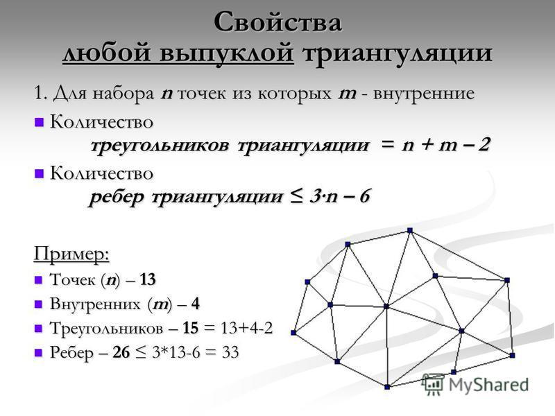 Свойства любой выпуклой триангуляции 1. Для набора n точек из которых m - внутренние Количество треугольников триангуляции = n + m – 2 Количество треугольников триангуляции = n + m – 2 Количество ребер триангуляции 3n – 6 Количество ребер триангуляци