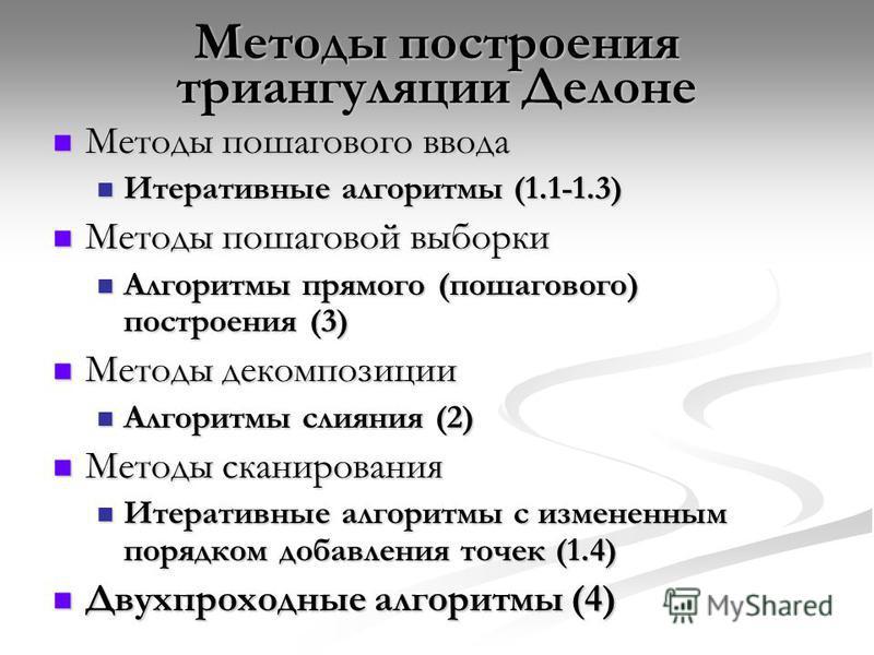 Методы построения триангуляции Делоне Методы пошагового ввода Методы пошагового ввода Итеративные алгоритмы (1.1-1.3) Итеративные алгоритмы (1.1-1.3) Методы пошаговой выборки Методы пошаговой выборки Алгоритмы прямого (пошагового) построения (3) Алго