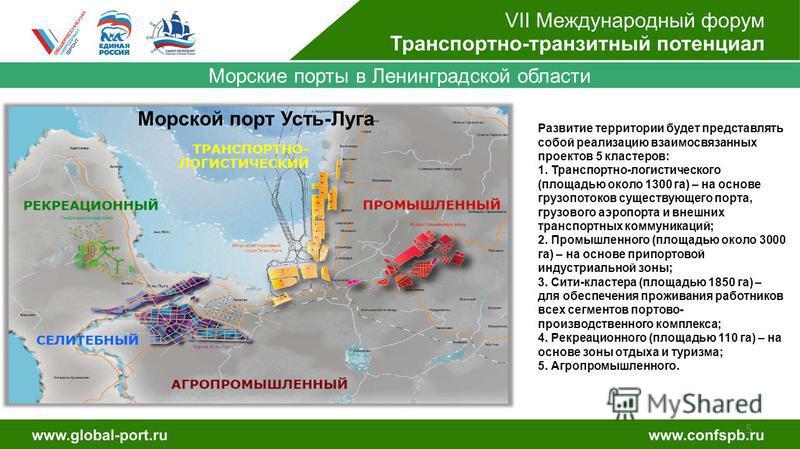 5 Морские порты в Ленинградской области Морской порт Усть-Луга Развитие территории будет представлять собой реализацию взаимосвязанных проектов 5 кластеров: 1. Транспортно-логистического (площадью около 1300 га) – на основе грузопотоков существующего