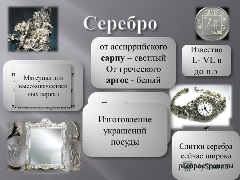 Известно L- VL в до н.э. от ассирийского сарпу – светлый От греческого аргос - белый от ассирийского сарпу – светлый От греческого аргос - белый Первый элемент который с древности ассоциировался со славой и богатством Серебро было предпочтительнее дл