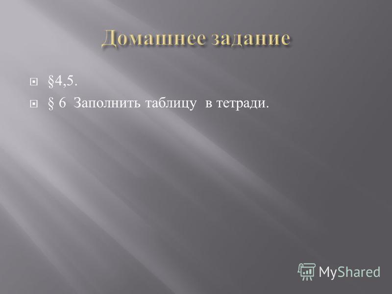 §4,5. § 6 Заполнить таблицу в тетради.