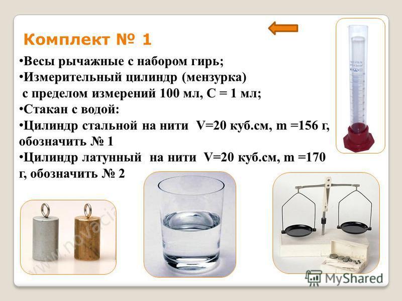 Комплект 1 Весы рычажные с набором гирь; Измерительный цилиндр (мензурка) с пределом измерений 100 мл, С = 1 мл; Стакан с водой: Цилиндр стальной на нити V=20 куб.см, m =156 г, обозначить 1 Цилиндр латунный на нити V=20 куб.см, m =170 г, обозначить 2