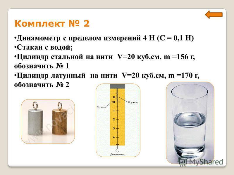 Комплект 2 Динамометр с пределом измерений 4 Н (С = 0,1 Н) Стакан с водой; Цилиндр стальной на нити V=20 куб.см, m =156 г, обозначить 1 Цилиндр латунный на нити V=20 куб.см, m =170 г, обозначить 2