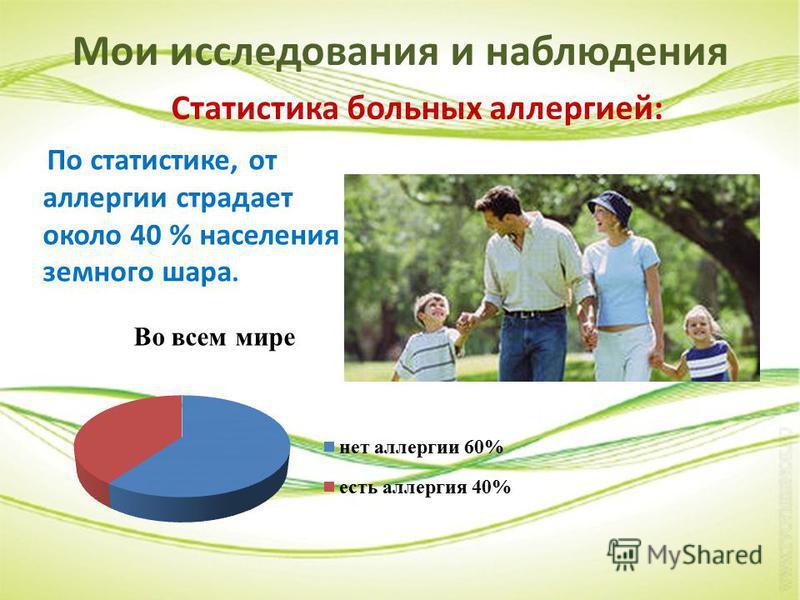 Мои исследования и наблюдения Статистика больных аллергией: По статистике, от аллергии страдает около 40 % населения земного шара.