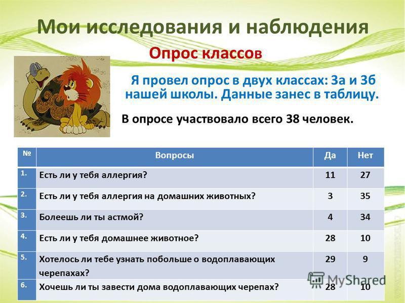 Мои исследования и наблюдения Опрос классов Я провел опрос в двух классах: 3 а и 3 б нашей школы. Данные занес в таблицу. В опросе участвовало всего 38 человек. Вопросы ДаНет 1. Есть ли у тебя аллергия?1127 2. Есть ли у тебя аллергия на домашних живо