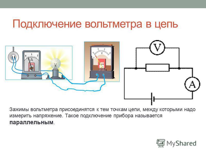 Подключение вольтметра в цепь Зажимы вольтметра присоединятся к тем точкам цепи, между которыми надо измерить напряжение. Такое подключение прибора называется параллельным.
