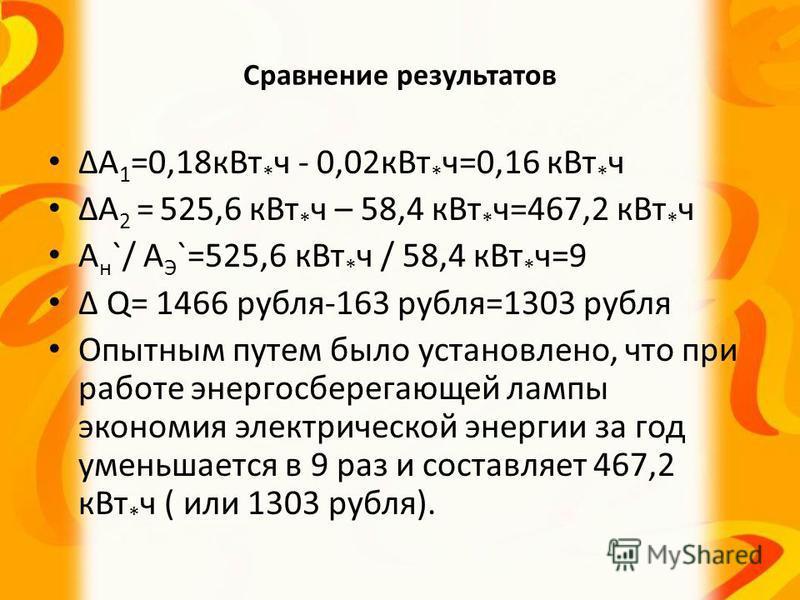 Сравнение результатов А 1 =0,18 к Вт * ч - 0,02 к Вт * ч=0,16 к Вт * ч А 2 = 525,6 к Вт * ч – 58,4 к Вт * ч=467,2 к Вт * ч А н `/ А Э `=525,6 к Вт * ч / 58,4 к Вт * ч=9 Q= 1466 рубля-163 рубля=1303 рубля Опытным путем было установлено, что при работе