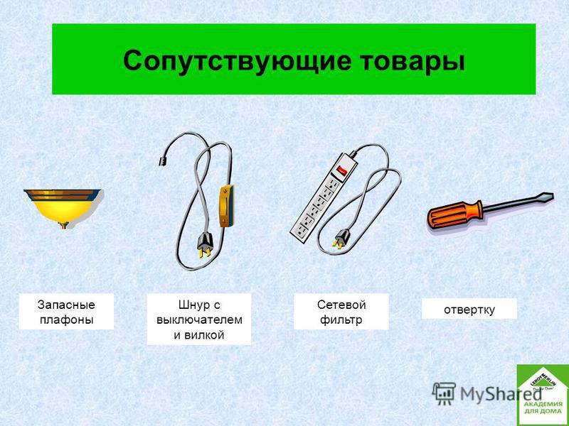 Сопутствующие товары Запасные плафоны Шнур с выключателем и вилкой Сетевой фильтр отвертку