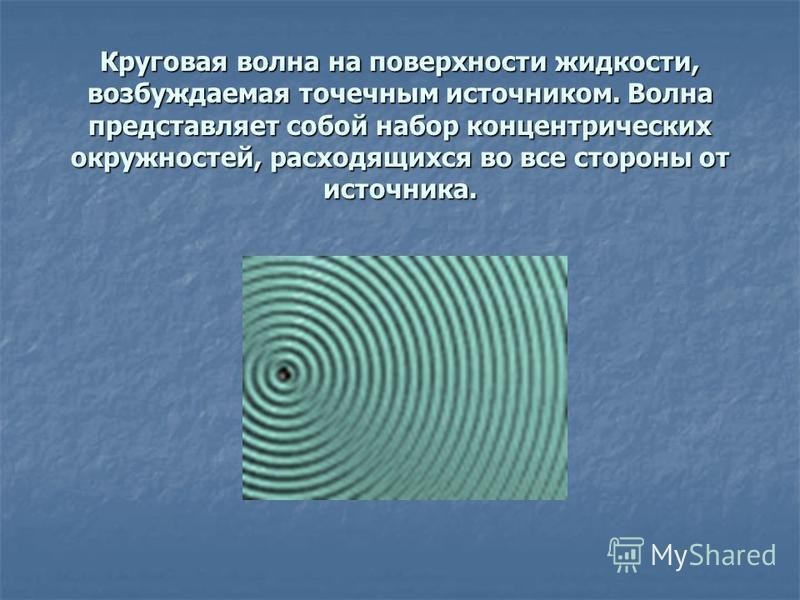 Круговая волна на поверхности жидкости, возбуждаемая точечным источником. Волна представляет собой набор концентрических окружностей, расходящихся во все стороны от источника.