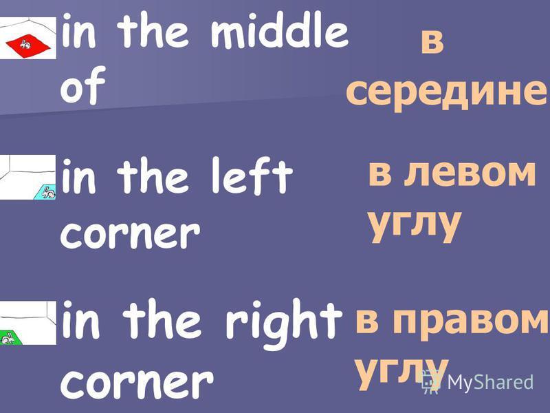 in the middle of in the left corner in the right corner в середине в левом углу в правом углу