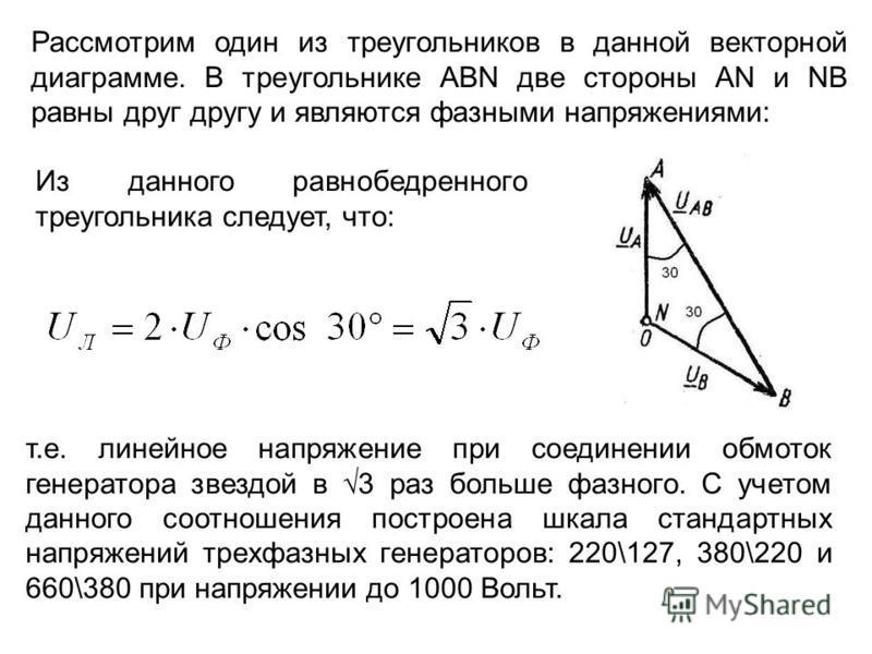 Рассмотрим один из треугольников в данной векторной диаграмме. В треугольнике ABN две стороны AN и NB равны друг другу и являются фазными напряжениями: Из данного равнобедренного треугольника следует, что: т.е. линейное напряжение при соединении обмо