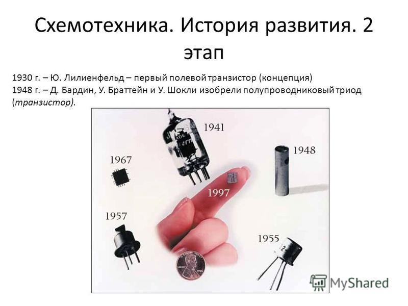 Схемотехника. История развития. 2 этап 1930 г. – Ю. Лилиенфельд – первый полевой транзистор (концепция) 1948 г. – Д. Бардин, У. Браттейн и У. Шокли изобрели полупроводниковый триод (транзистор).