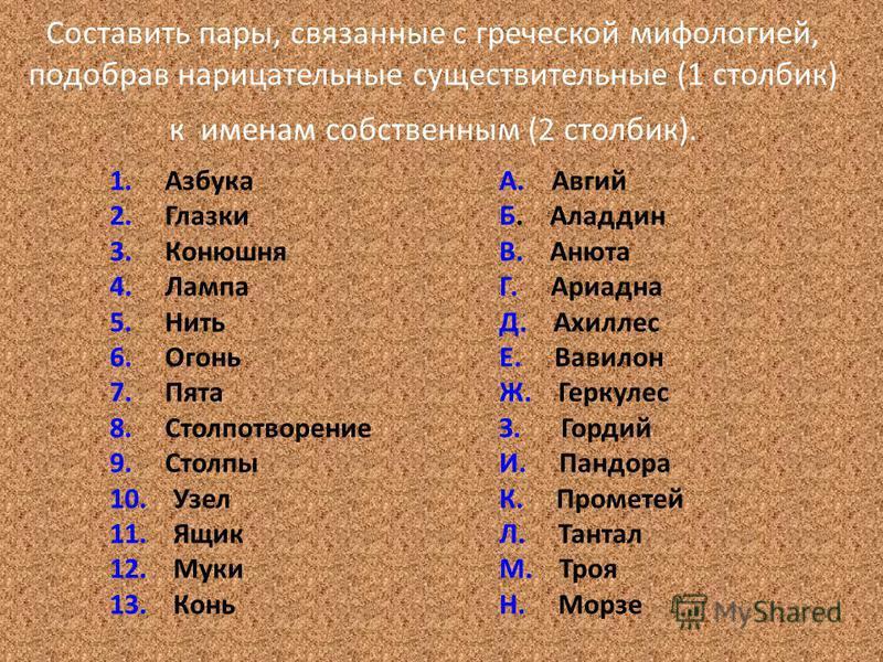 Составить пары, связанные с греческой мифологией, подобрав нарицательные существительные (1 столбик) к именам собственным (2 столбик). 1. Азбука 2. Глазки 3. Конюшня 4. Лампа 5. Нить 6. Огонь 7. Пята 8. Столпотворение 9. Столпы 10. Узел 11. Ящик 12.
