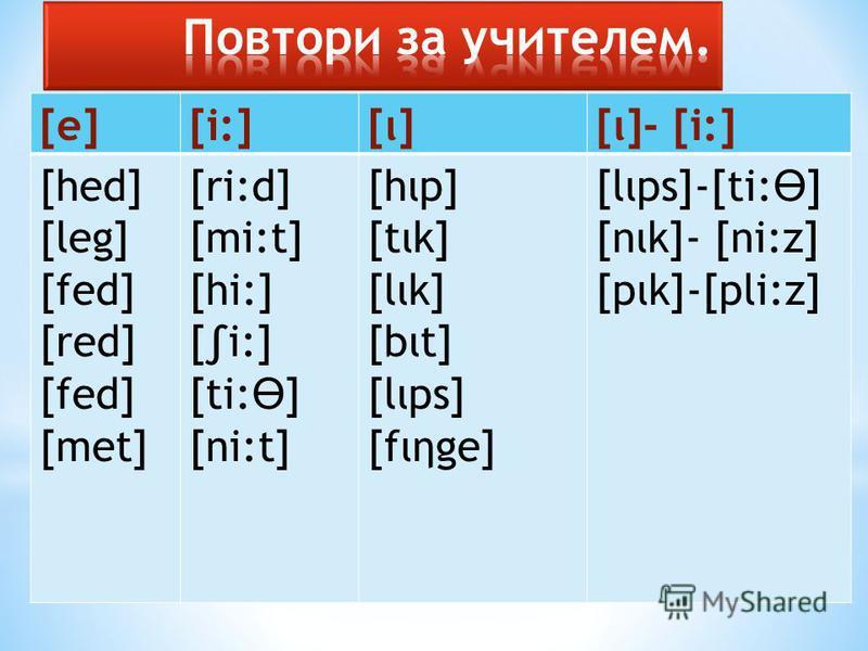 [e][i:][ι][ι]- [i:] [hed] [leg] [fed] [red] [fed] [met] [ri:d] [mi:t] [hi:] [i:] [ti: Ө ] [ni:t] [hop] [tιk] [lιk] [but] [lips] [fιηge] [lips]-[ti: Ө ] [nik]- [ni:z] [pιk]-[pli:z]