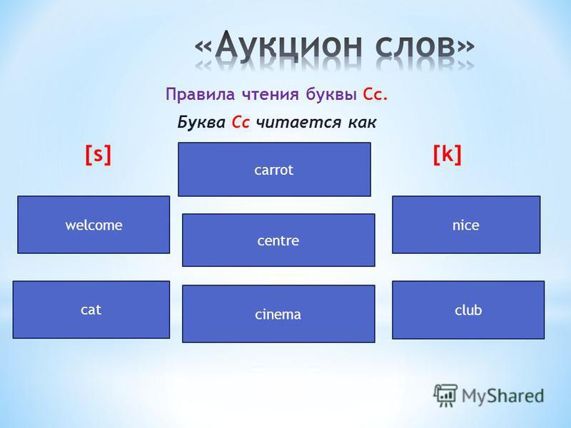 Правила чтения буквы Сс. Буква Сс читается как [s] [k] n carrot centre cinema cat club welcomenice