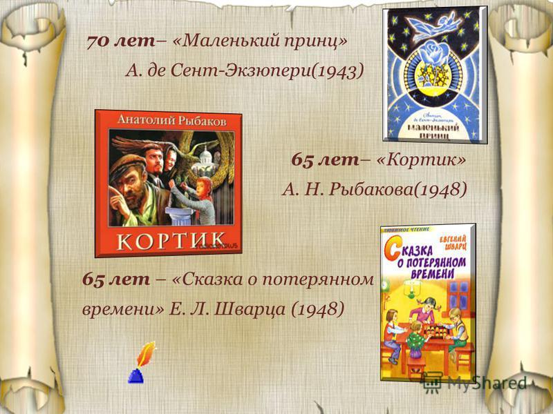70 лет– «Маленький принц» А. де Сент-Экзюпери(1943) 65 лет– «Кортик» А. Н. Рыбакова(1948) 65 лет – «Сказка о потерянном времени» Е. Л. Шварца (1948)