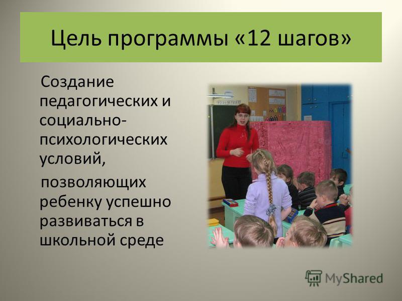 Цель программы «12 шагов» Создание педагогических и социально- психологических условий, позволяющих ребенку успешно развиваться в школьной среде