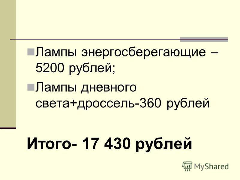 Лампы энергосберегающие – 5200 рублей; Лампы дневного света+дроссель-360 рублей Итого- 17 430 рублей