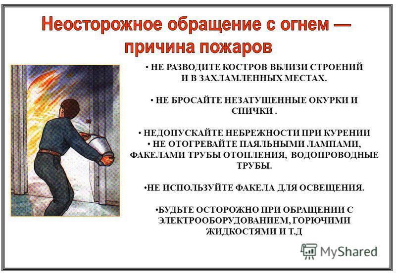 НЕ РАЗВОДИТЕ КОСТРОВ ВБЛИЗИ СТРОЕНИЙ И В ЗАХЛАМЛЕННЫХ МЕСТАХ. НЕ БРОСАЙТЕ НЕЗАТУШЕННЫЕ ОКУРКИ И СПИЧКИ. НЕДОПУСКАЙТЕ НЕБРЕЖНОСТИ ПРИ КУРЕНИИ НЕ ОТОГРЕВАЙТЕ ПАЯЛЬНЫМИ ЛАМПАМИ, ФАКЕЛАМИ ТРУБЫ ОТОПЛЕНИЯ, ВОДОПРОВОДНЫЕ ТРУБЫ. НЕ ИСПОЛЬЗУЙТЕ ФАКЕЛА ДЛЯ ОС