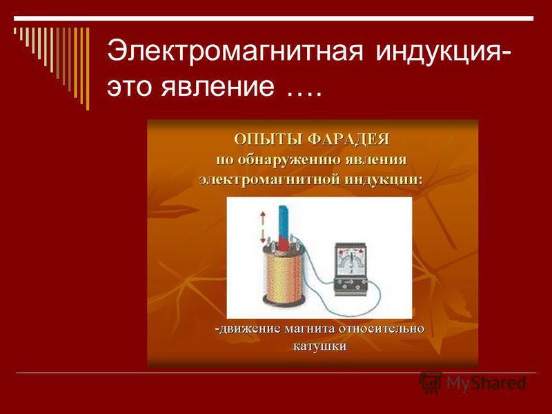 Электромагнитная индукция- это явление ….