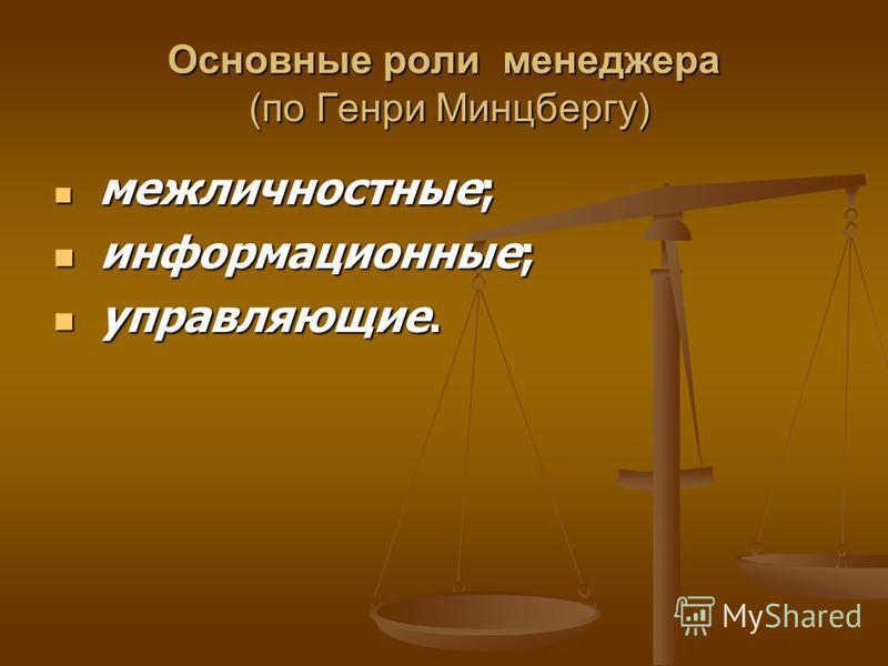 Основные роли менеджера (по Генри Минцбергу) межличностные; межличностные; информационные; информационные; управляющие. управляющие.