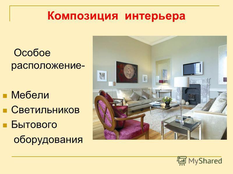Композиция интерьера Особое расположение- Мебели Светильников Бытового оборудования