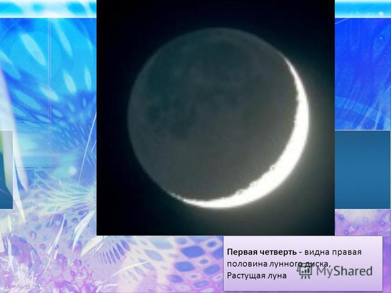 Первая четверть - видна правая половина лунного диска, Растущая луна Первая четверть - видна правая половина лунного диска, Растущая луна