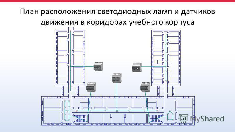 План расположения светодиодных ламп и датчиков движения в коридорах учебного корпуса