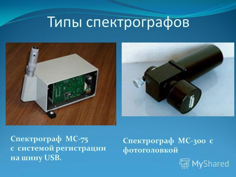 Типы спектрографов Спектрограф МС-75 с системой регистрации на шину USB. Спектрограф МС-300 с фото головкой