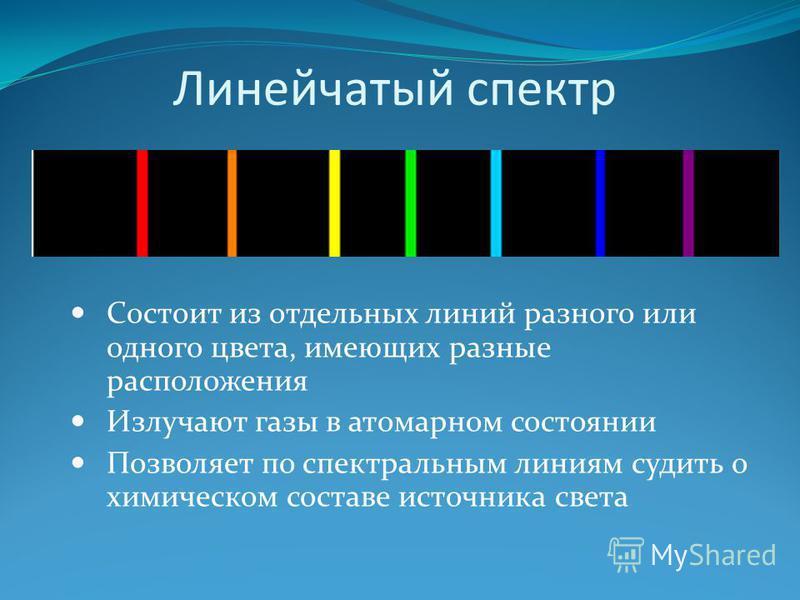 Линейчатый спектр Состоит из отдельных линий разного или одного цвета, имеющих разные расположения Излучают газы в атомарном состоянии Позволяет по спектральным линиям судить о химическом составе источника света